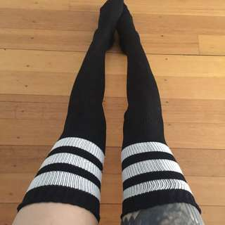 Black Thigh High Socks With White Stripes