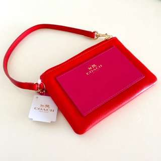 Authentic Coach Wristlet in Cardinal Pink Ruby