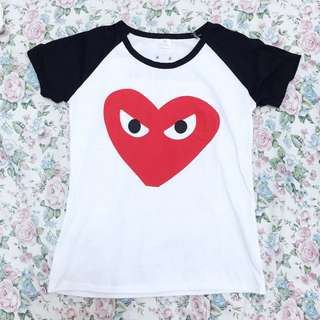 Heart White Shirt With Black Sleeves