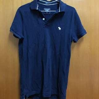 穿過一次-A&F男xs深藍polo衫