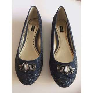 Brand New Mimco Blue Glitter Ballet Flats Sz38