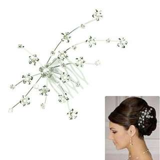 New Silver Personality Crystal Wedding Bridal Jewelry Headband Hair Clip Hair Jewelry Accessories best deal 1pcs