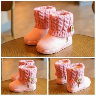 現貨現貨 女童麻花加絨雪靴