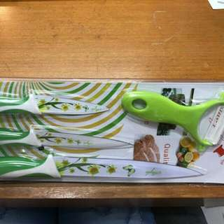 Pisau Dapur Keramik Set Isi 3pcs / Pisau + Peeler