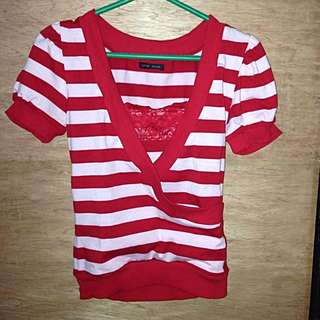 Stripes Blouse With Inner