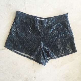 🌸 Sequin Mini Hot Pants Shorts Black Grey Size 8