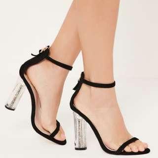 Missguided Glitter Black Heels