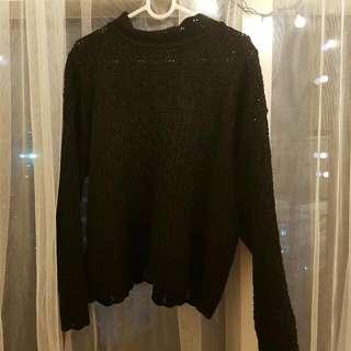 블랙 시스루 스웨터