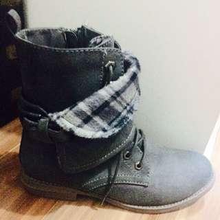 Grey Suade Boots