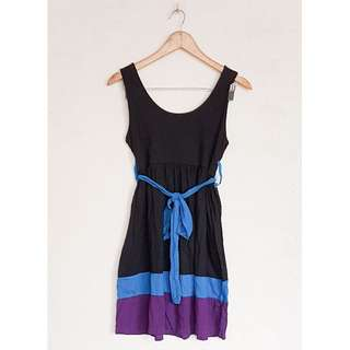 COLOR BLOCK BLUE DRESS