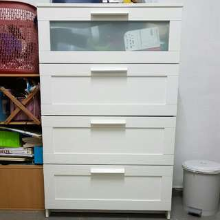(RESERVED) 4-Tier White Wooden Drawer