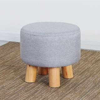 Nordic 4-Legged Wooden Round Cushion Stool (Grey) - 60002