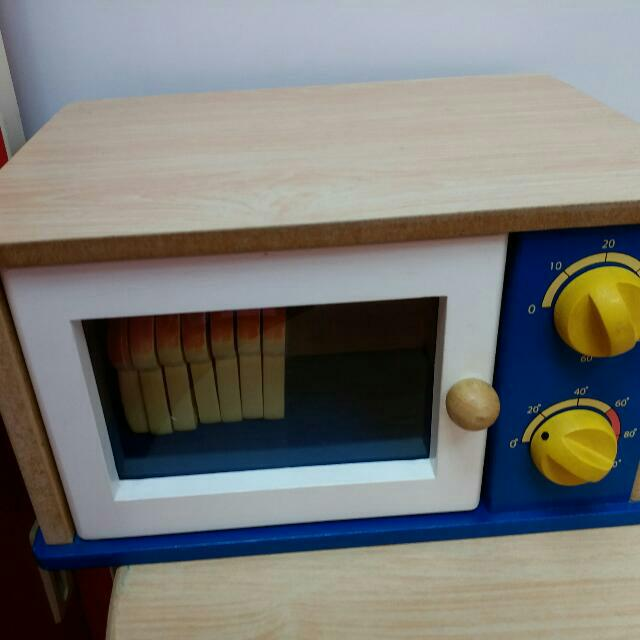 全木製微波爐玩具