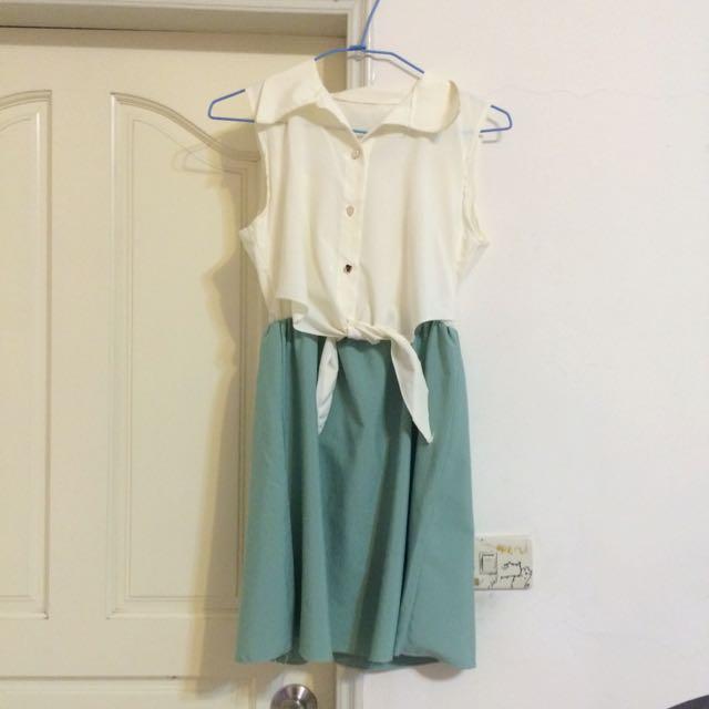 白綠色綁帶洋裝👗