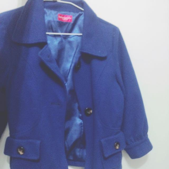 韓版硬挺 寶藍短版西裝外套 泡泡袖子 保暖 古著