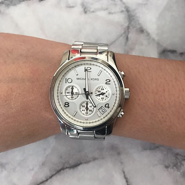 Authentic Michael Kors Silver Runway Chronograph Watch