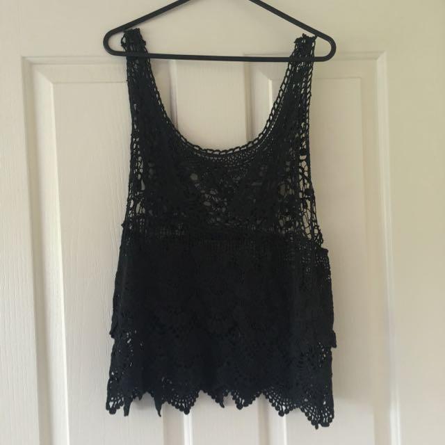 Black Crochet Singlet Top