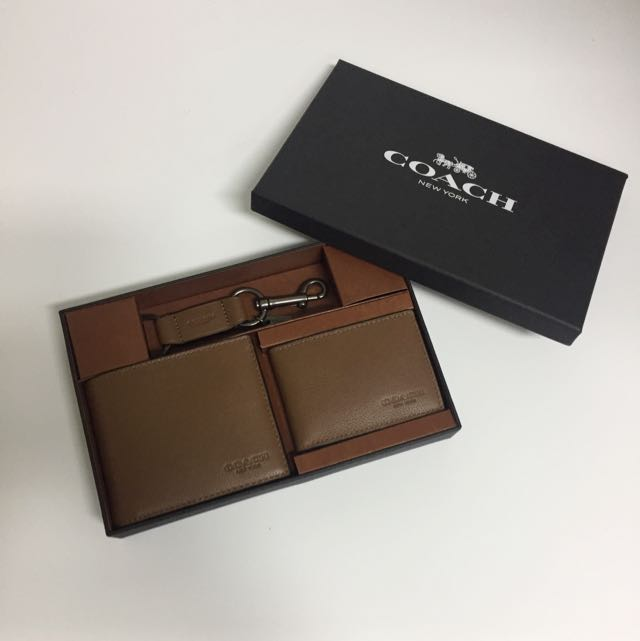 f671bfbc93c51 BNIB Authentic Coach Mens Compact ID Wallet In Sport Calf Leather ...