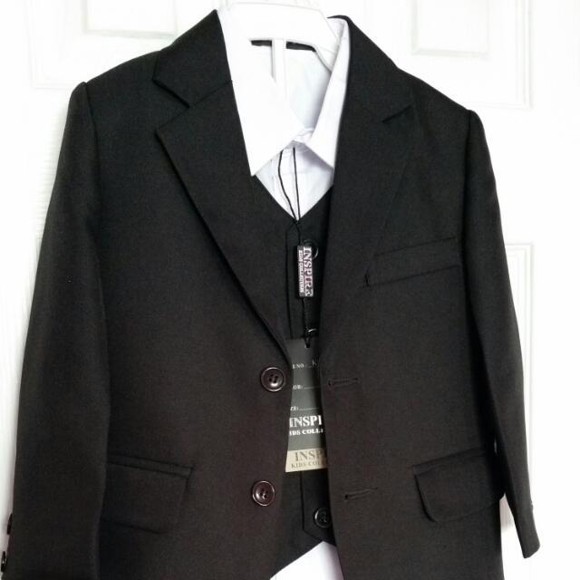 Boy's Inspire Kids Black 4-pc Suit Size 2