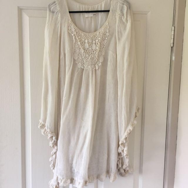 Cream Boho Bell Sleeved Top/dress