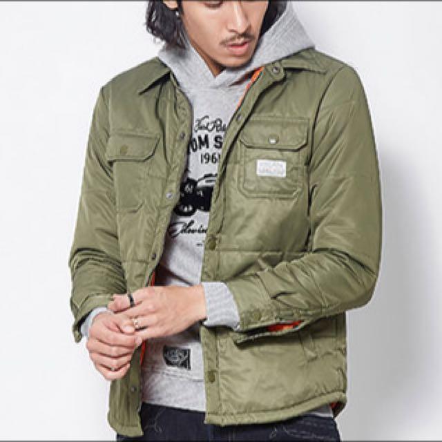 Edwin 鋪棉 襯衫式 軍綠 外套 MA-1 可參考 S