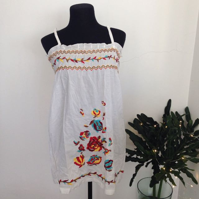 Embroidered Tube Dress
