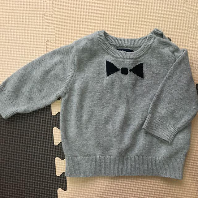 Gap  Baby gap 嬰兒 寶寶 灰 蝴蝶結 毛衣 針織上衣