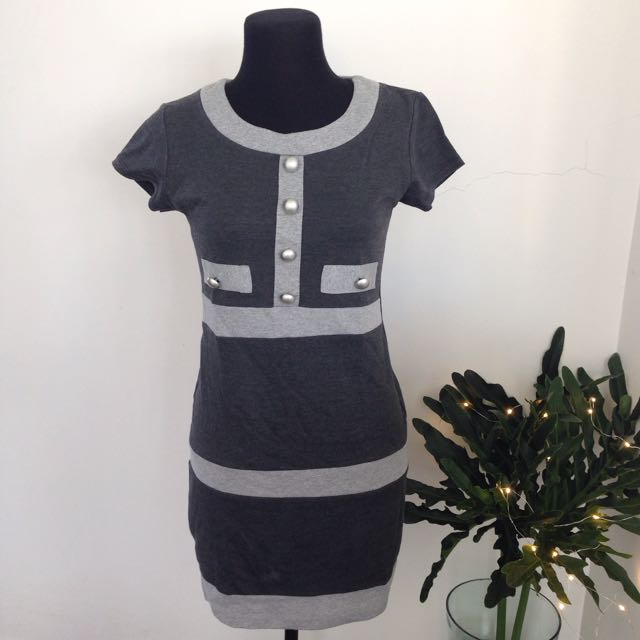 Grey Block Dress
