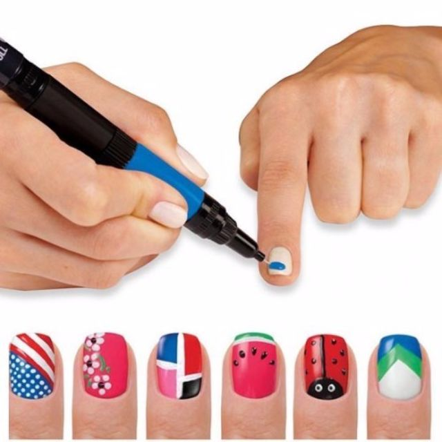 Hot Designs 2 in 1 Nail Art Pens and Brush, Preloved Health & Beauty ...