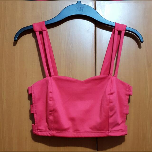 Hot Pink Bralette Cut Out Top