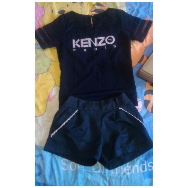 Hotpants + Kaos Kenzo Jaring