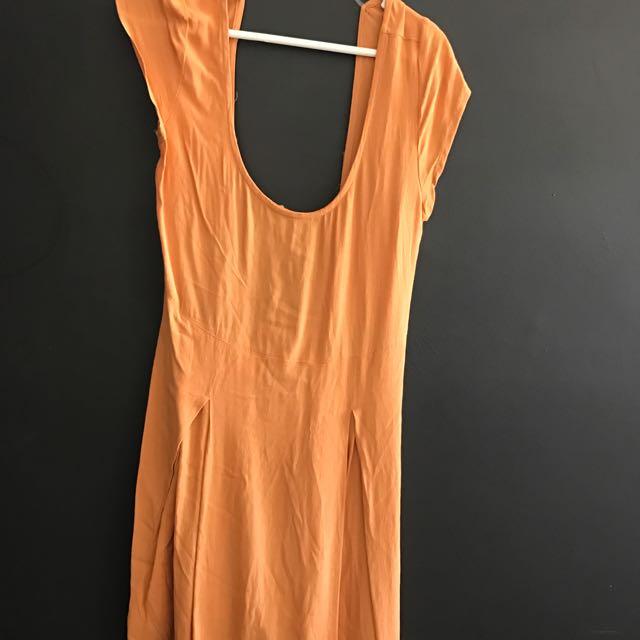 Mustard Backless Dress