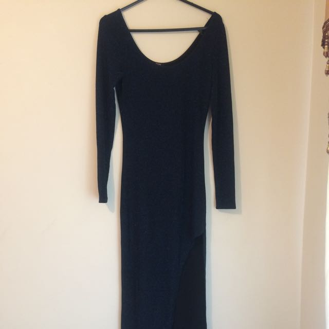 Navy Blue And Black With Side Split Dress