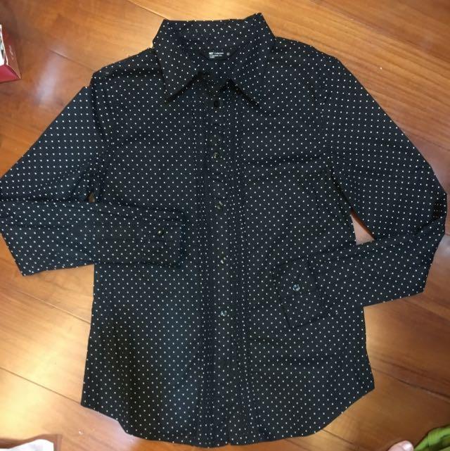 NET黑白小水玉點點襯衫
