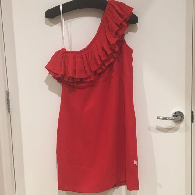 One Shoulder Tiered Chiffon Dress in Red