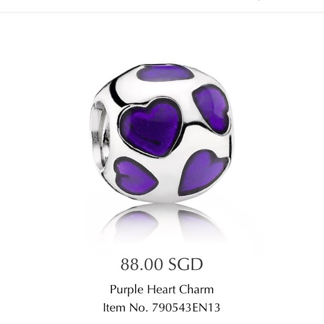 73883c4ca Pandora Purple Heart Charm, Luxury, Accessories on Carousell