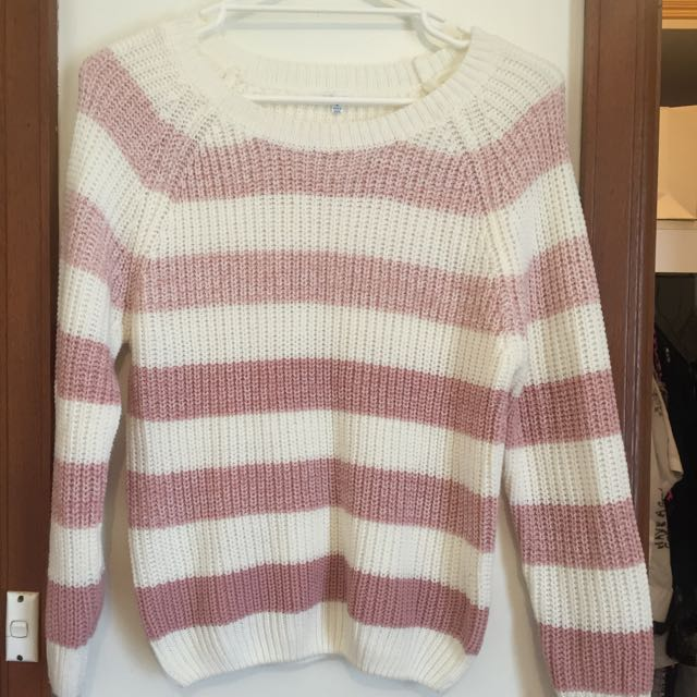 Pink & White Striped Sweater