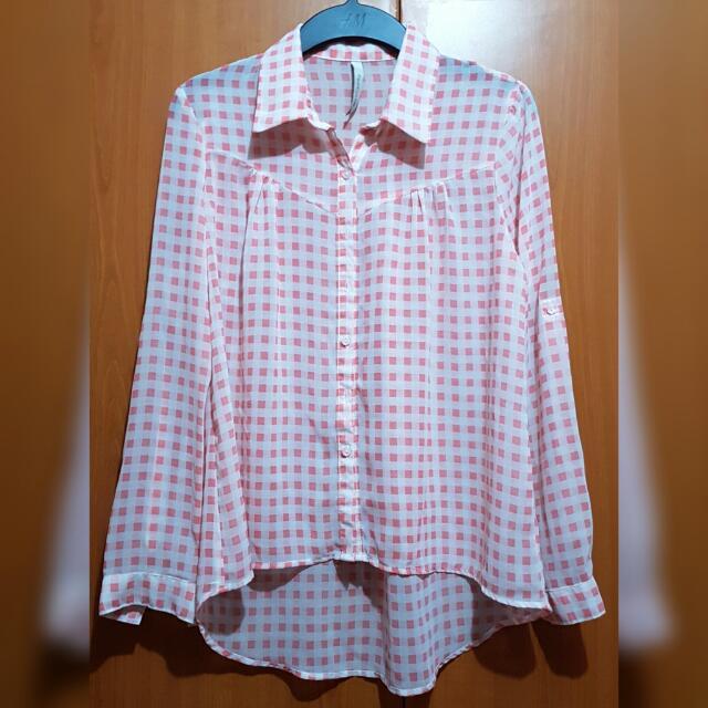 Pink Semi-sheer Checkered Long Sleeves