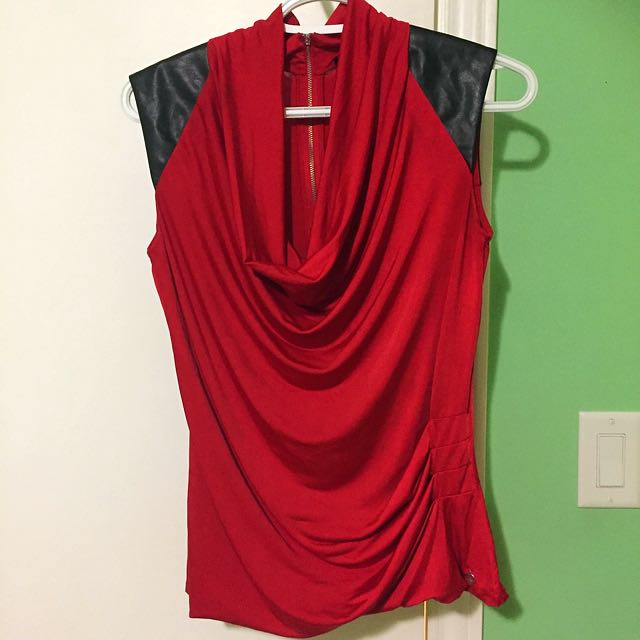 Red & Leather With Back Zipper Top