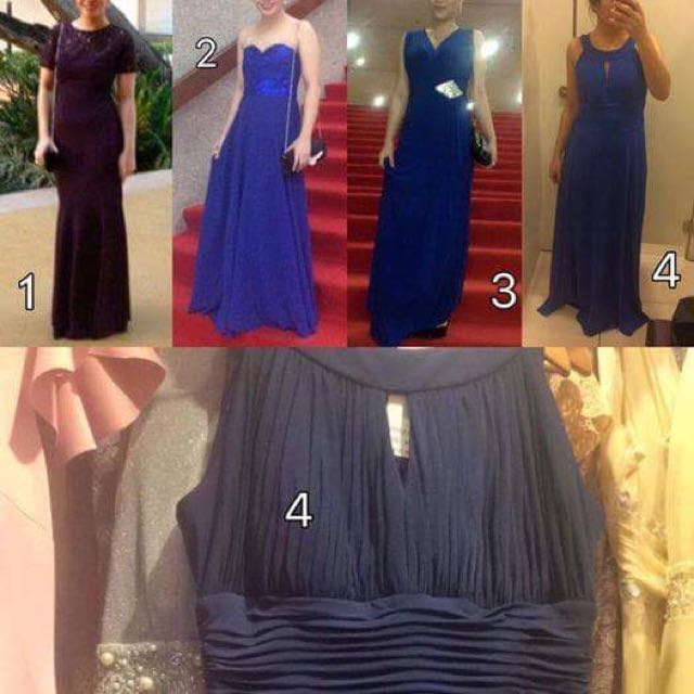 Selling these gowns. PM if interested. 1. Used once. 2k  2. Used once. 2k  3. Used twice. 1k  4. Unused. The color of the gown is the photo under. The gown fitted is a different shade of blue. Bought at 3k. Selling at 2500.