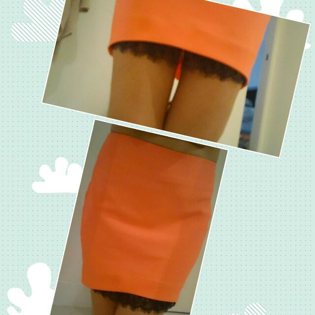 Skirt With Lace Under Slip ( Not Fully Lace Lined)  Tangerine In Colour. Fake Back Pockets. Size Medium (10-12) $16