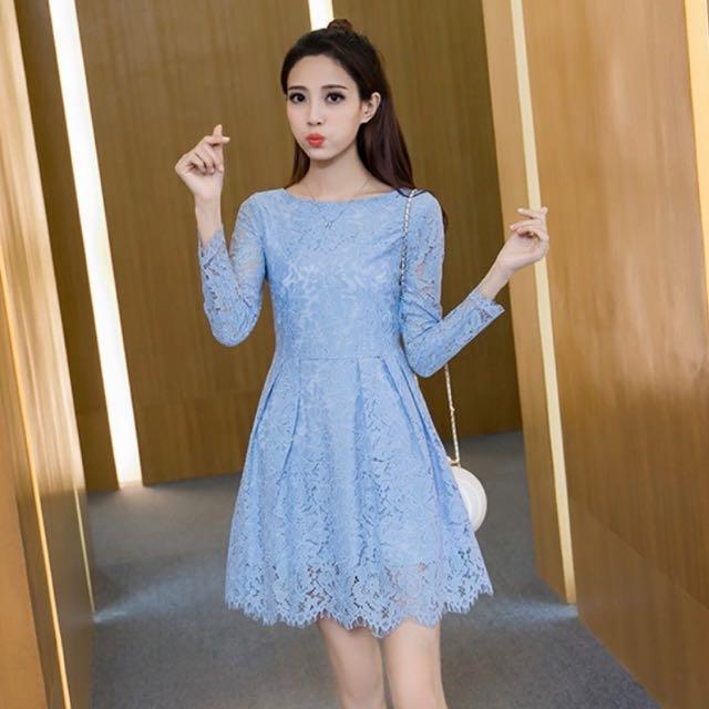 637ca8f9469d Korean Style Lace Dress Long Sleeves In Light Blue Women S Fashion