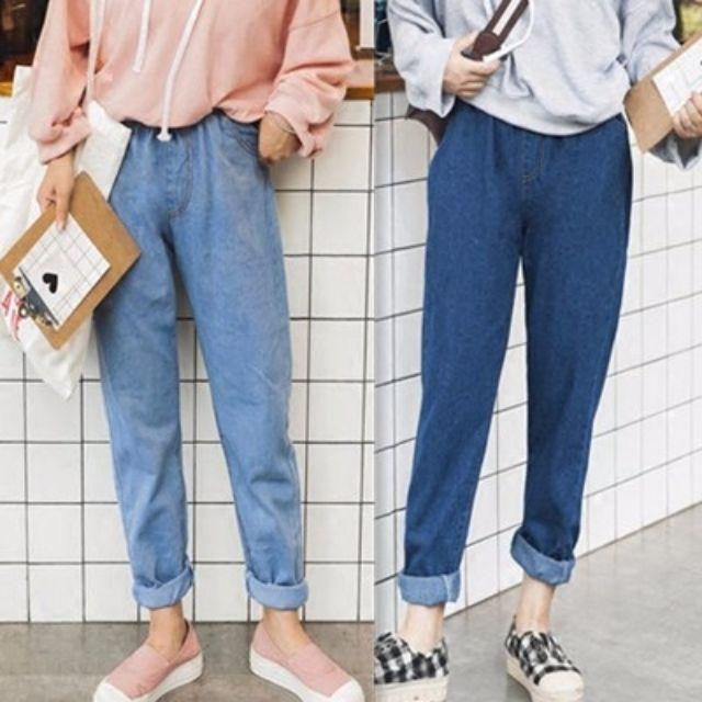免運費,大量現貨  S~3XL 寬鬆 哈倫 鬆緊 寬鬆 牛仔褲