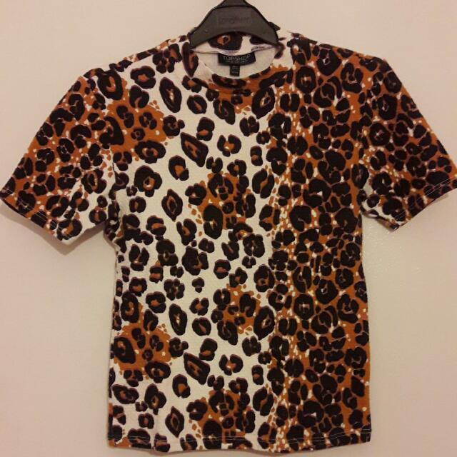 Topshop Leopard Print Turtleneck Shirt #NY50