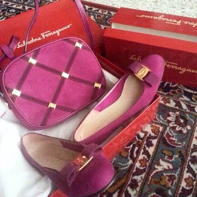 Vintage Ferragamo Vara Collection In Plum Suede Calf (BAG ONLY)