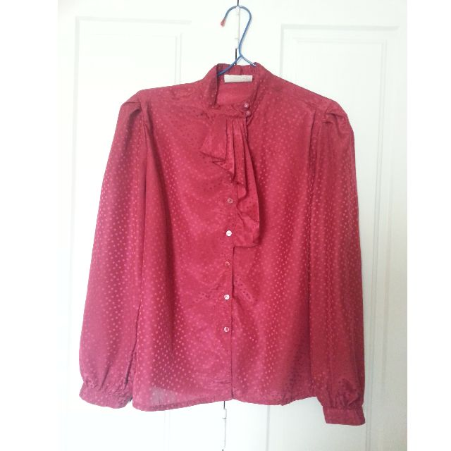 Vintage Ruby Polka Ruffled Blouse
