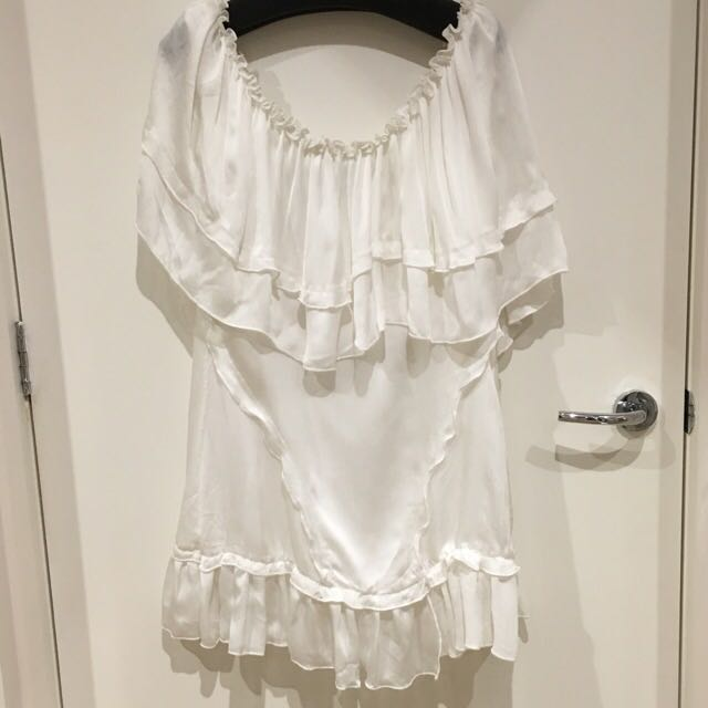 White Chiffon Off-Shoulder Tiered Dress