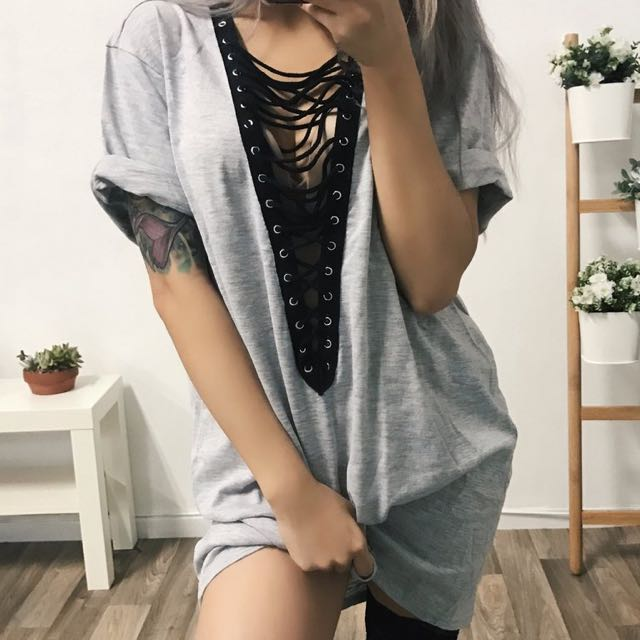 Wolfie Laceup T-Shirt Dress (Grey) Size S