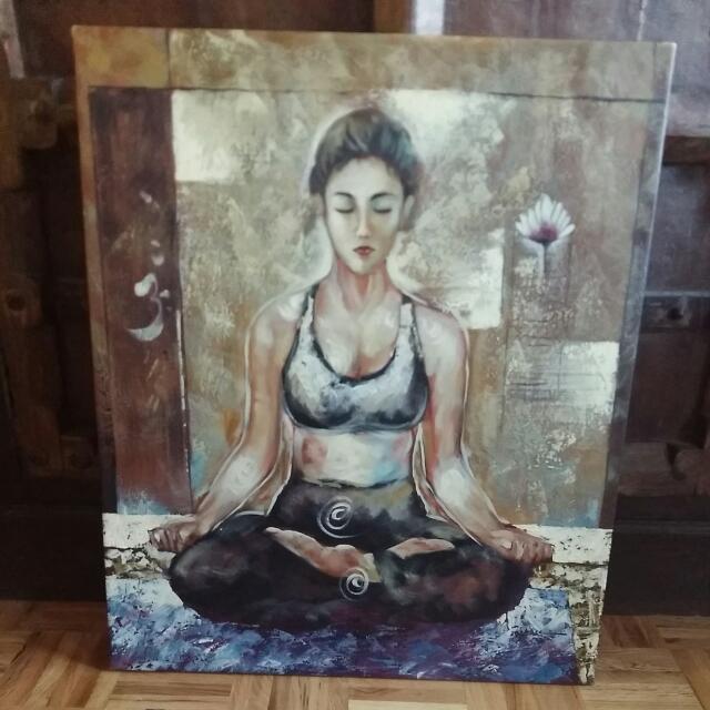 yoga girl painting, lotus pose ohm om sign