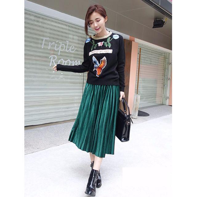 韓國刺繡滾邊長袖針織上衣【00135】